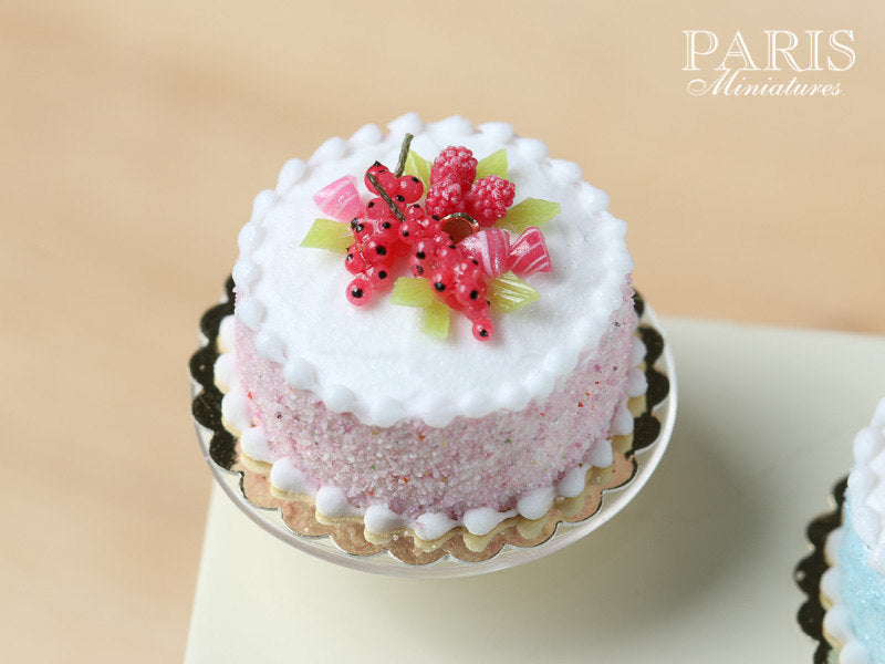Pastel Cake - Pink, Decorated with Red Fruit & Berlingot Candy - Miniature Food