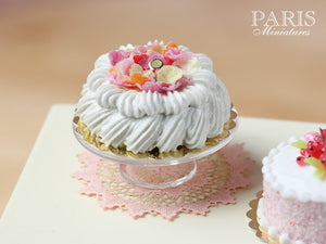 Marie-Antoinette Style Cream Cake Decorated with Sugared Rose Petals - Miniature Food