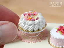 Load image into Gallery viewer, Marie-Antoinette Style Cream Cake Decorated with Sugared Rose Petals - Miniature Food in 12th Scale for Dollhouse