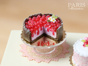 Red Currant Cheesecake - Miniature Food in 12th Scale for Dollhouse