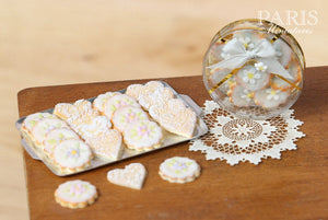 Iced Butter Cookies on Metal Baking Sheet - Miniature Food in 12th Scale for Dollhouse