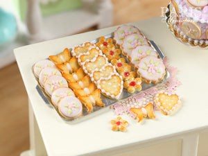 Iced Butter Cookies on Metal Baking Sheet - Five Varieties - Miniature Food