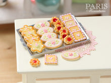Load image into Gallery viewer, Iced Butter Cookies on Metal Baking Sheet - Four Varieties - Miniature Food