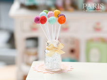 Load image into Gallery viewer, Rainbow Cake Pops with Glass Display Jar - Miniature Food in 12th Scale for Dollhouse
