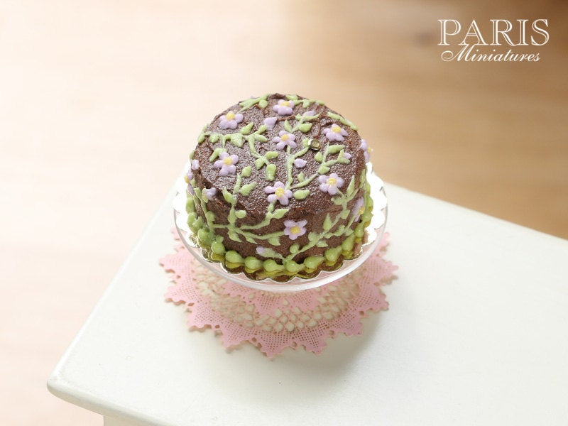 Chocolate Floral Summer Cake - Miniature Food in 12th Scale for Dollhouse