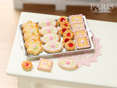 Iced Butter Cookies on Metal Baking Sheet - Four Varieties - Miniature Food