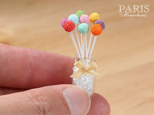 Rainbow Cake Pops with Glass Display Jar - Miniature Food in 12th Scale for Dollhouse