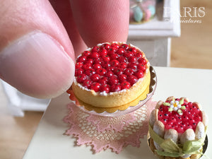 Cherry Tart (Tarte aux Cerises) - Miniature Food in 12th Scale for Dollhouse