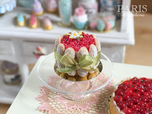 Red Currant Charlotte - French Pastry - Miniature Food in 12th Scale for Dollhouse