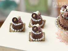 Load image into Gallery viewer, Chocolate Eiffel Tower Génoise Pastry - Miniature Food in 12th Scale