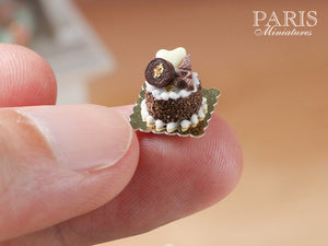 Chocolate Eiffel Tower Génoise Pastry - Miniature Food in 12th Scale