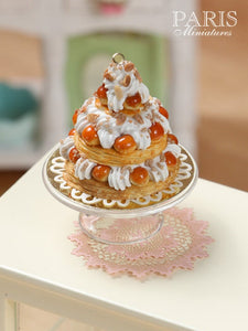 Triple Tiered St Honoré Pastry Centerpiece - Miniature Food in 12th Scale