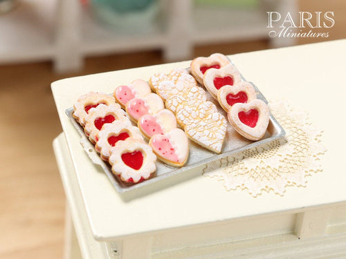 Jam Cookies, Lace Cookies on Metal Baking Sheet - Four Varieties - Miniature Food in 12th Scale for Dollhouse
