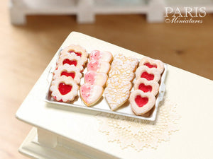 HeartShaped Jam Cookies and Lace Effect Cookies on Tray - Miniature Food
