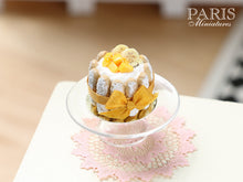 Load image into Gallery viewer, Tropical Fruit Charlotte decorated with Mango Cubes and Banana Slices - Miniature Food in 12th Scale