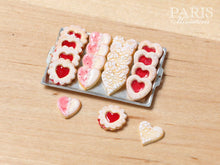 Load image into Gallery viewer, HeartShaped Jam Cookies and Lace Effect Cookies on Tray - Miniature Food