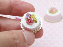 Load image into Gallery viewer, Trio of Roses Cake (Pink, Yellow, Mauve) - Tiny Miniature Food in 12th Scale for Dollhouse