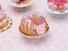 Load image into Gallery viewer, Pink Kouglof with Fruity Filling and Slice - Miniature Food in 12th Scale for Dollhouse