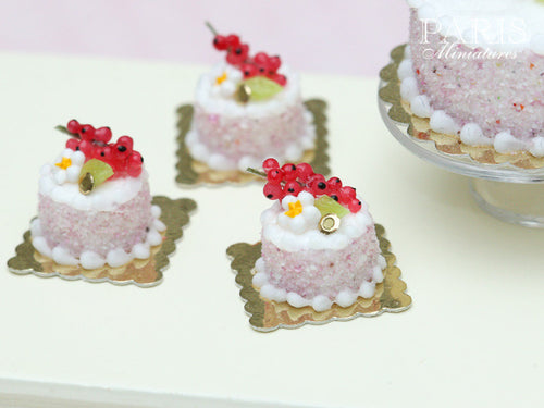 Red Currant Individual Génoise Cake - Miniature Food in 12th Scale for Dollhouse
