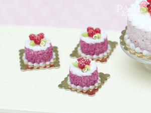 Raspberry Individual Pastry - Génoise Cake - Miniature Food in 12th Scale for Dollhouse