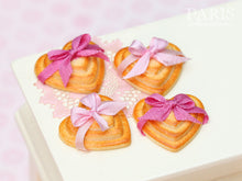 Load image into Gallery viewer, Three Heart Shaped Cookies Decorated with Pink Bow (Choice of Light or Dark Pink) - Miniature Food