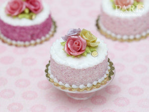 Trio of Roses Cake (Pink, Yellow, Mauve) - Tiny Miniature Food in 12th Scale for Dollhouse