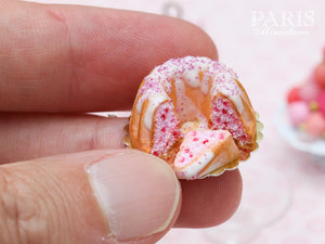 Pink Kouglof with Fruity Filling and Slice - Miniature Food in 12th Scale for Dollhouse