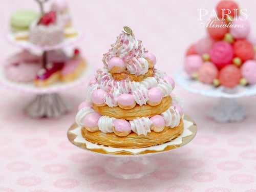 Three Tiered Pink St Honoré Pièce Montée - Tiny Miniature Food in 12th Scale for Dollhouse