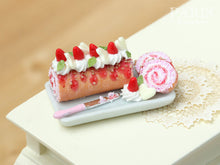 Load image into Gallery viewer, Strawberries and Cream Pink Swiss Roll Cake - Miniature Food in 12th Scale for Dollhouse