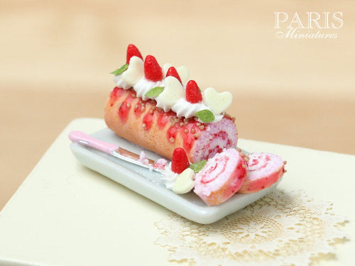 Strawberries and Cream Pink Swiss Roll Cake - Miniature Food in 12th Scale for Dollhouse