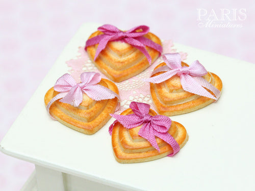 Three Heart Shaped Cookies Decorated with Pink Bow (Choice of Light or Dark Pink) - Miniature Food