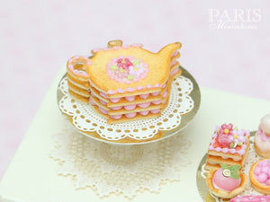 Teapot Shaped Sablé (French Cookie) Decorated with Pink Blossoms - Miniature Food