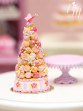 Load image into Gallery viewer, Pink Croquembouche / Pièce Montée - French Wedding Cake - Miniature Food in 12th Scale