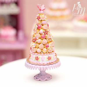 Pink Croquembouche / Pièce Montée - French Wedding Cake - Miniature Food in 12th Scale