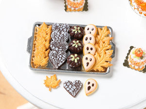Halloween / Fall Cookies and Chocolates on Metal Tray - Pumpkins, Boo Cookies - Miniature Food