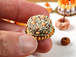 Pumpkin Patch Halloween Chocolate Cake - Miniature Food in 12th Scale for Dollhouse