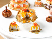 Load image into Gallery viewer, Halloween / Autumn Cut Pumpkin Cheesecake - Miniature Food in 12th Scale for Dollhouse
