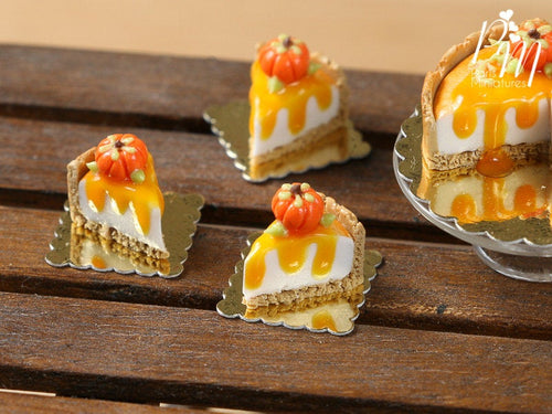 Slice of Pumpkin Cheesecake for Autumn/Fall - 12th Scale French Miniature Food