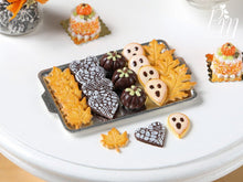Load image into Gallery viewer, Halloween / Fall Cookies and Chocolates on Metal Tray - Pumpkins, Boo Cookies - Miniature Food