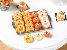 Load image into Gallery viewer, Halloween / Fall Cookies on Metal Baking Sheet - Four Varieties, Three Loose - Miniature Food
