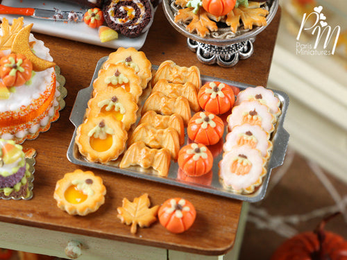 Halloween / Fall Cookies on Metal Baking Sheet - Four Varieties, Three Loose - Miniature Food