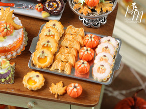 Halloween Autumn / Fall Cookies on Metal Baking Sheet - Four Varieties - Miniature Food