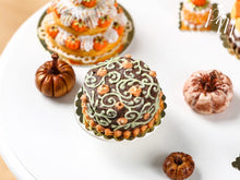 Load image into Gallery viewer, Pumpkin Patch Halloween Chocolate Cake - Miniature Food in 12th Scale for Dollhouse