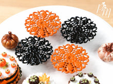 Load image into Gallery viewer, Ornate Filigree Metal Cake Stand in Black or Orange - 12th Scale for Dollhouse