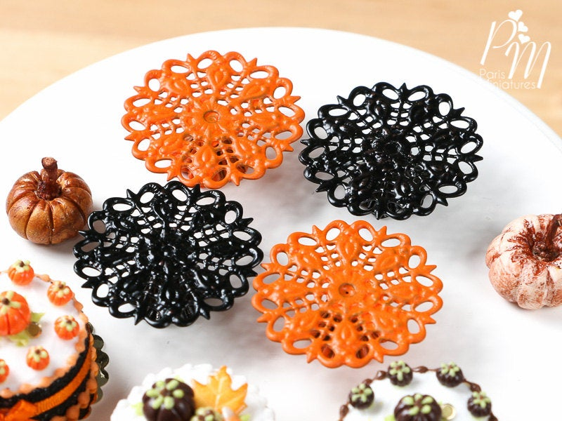 Ornate Filigree Metal Cake Stand in Black or Orange - 12th Scale for Dollhouse