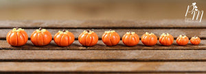 Set of 10 Candy Pumpkins in 10 Different Sizes - Miniature Food in 12th Scale for Dollhouse