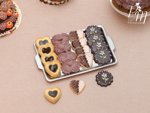 Chocolate Cookies and Meringues on Metal Tray - 4 Varieties, 3 Loose - Miniature Food