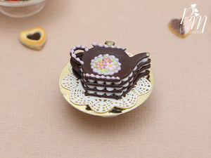 Chocolate Teapot Shaped Cream-Filled Millefeuille - Miniature Food in 12th Scale for Dollhouse