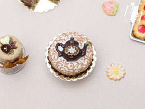Pretty Cake with Chocolate Teapot Decoration - Miniature Food in 12th Scale for Dollhouse