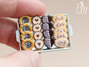 Chocolate-Themed Cookies on Metal Baking Sheet - Miniature Food in 12th Scale